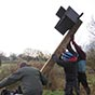 Barn owl box installation
